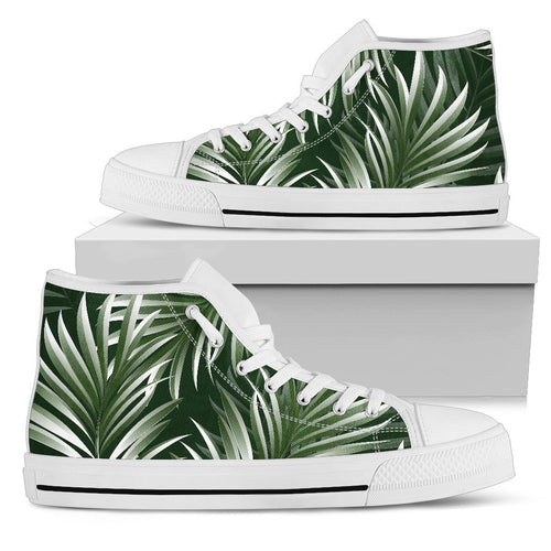 White Green Tropical Palm Leaves Men High Top Shoes