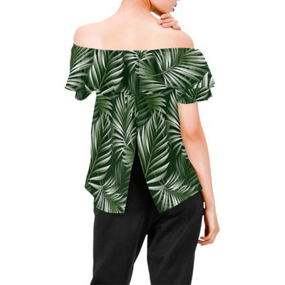 White & Green Tropical Palm Leaves Off Shoulder Ruffle Blouse