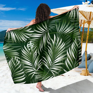 White Green Tropical Palm Leaves Sarong Pareo Wrap