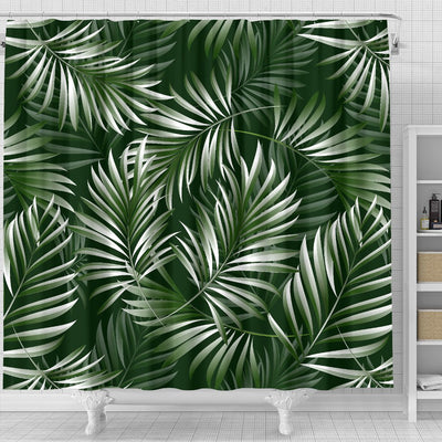 White Green Tropical Palm Leaves Shower Curtain