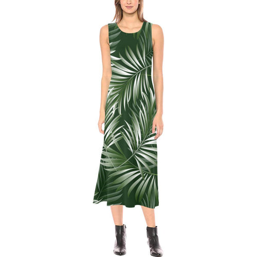 White Green Tropical Palm Leaves Sleeveless Open Fork Long Dress