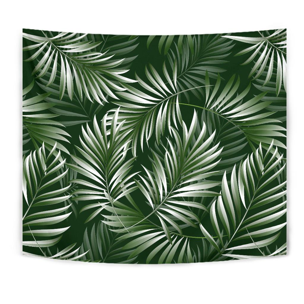 White Green Tropical Palm Leaves Tapestry