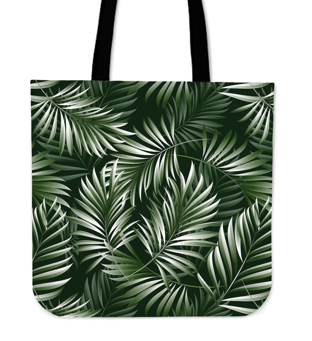 White Green Tropical Palm Leaves Tote Bags