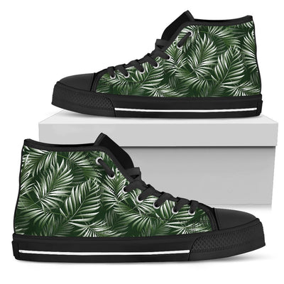 White & Green Tropical Palm Leaves Women High Top Canvas Shoes
