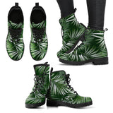 White Green Tropical Palm Leaves Women Leather Boots