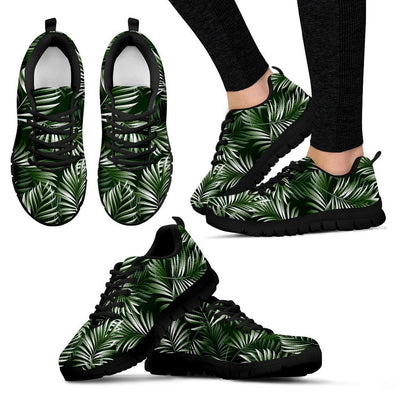 White _ Green Tropical Palm Leaves Women Sneakers