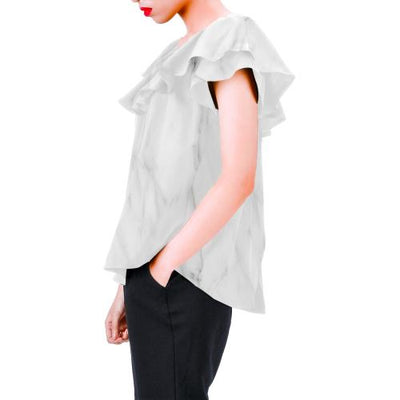 White Marble Off Shoulder Ruffle Blouse