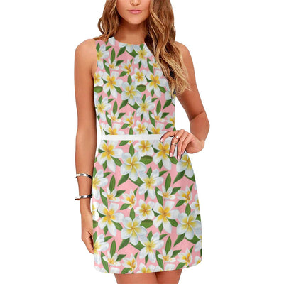 White Plumeria Pattern Print Design PM011 Sleeveless Mini Dress-JorJune