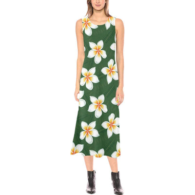 White Plumeria Pattern Print Design PM020 Sleeveless Open Fork Long Dress