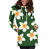 White Plumeria Pattern Print Design PM020 Women Hoodie Dress