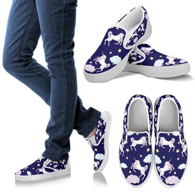 White Unicorn Star Men Canvas Slip On Shoes