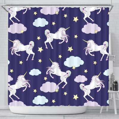 White Unicorn Star Shower Curtain