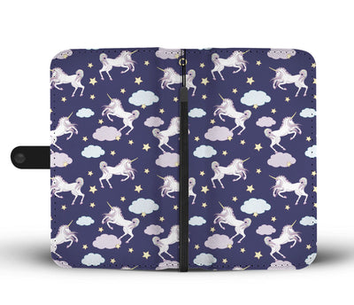 White Unicorn Star Wallet Phone Case