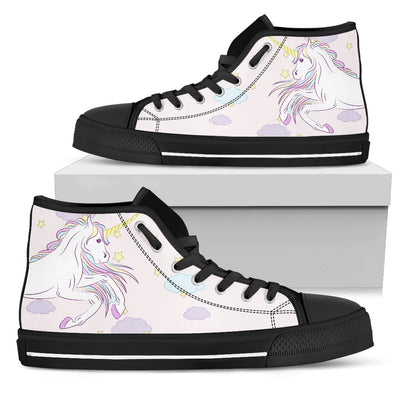 White Unicorn Star Women High Top Canvas Shoes