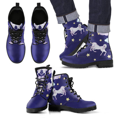 White Unicorn Star Women & Men Leather Boots