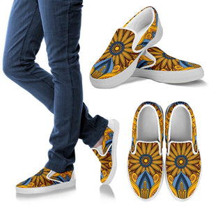 Yellow Mandala Hindu Men Canvas Slip On Shoes