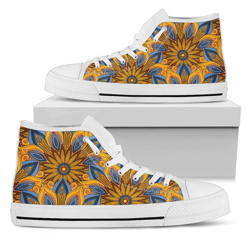 Yellow Mandala Hindu Men High Top Canvas Shoes