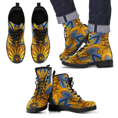 Yellow Mandala Hindu Women & Men Leather Boots