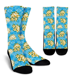 Yellow Plumeria Design Print Pattern Crew Socks-JORJUNE.COM