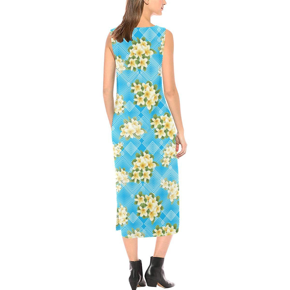 Yellow Plumeria Design Print Pattern Sleeveless Open Fork Long Dress
