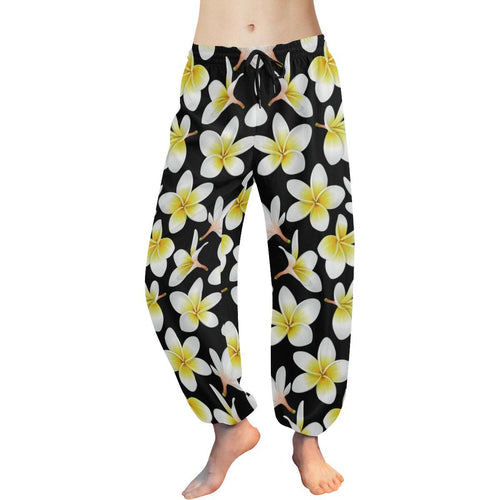 Yellow Plumeria Hawaiian Flowers Harem Pants