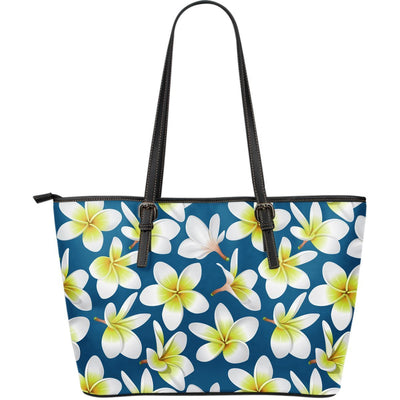 Yellow Plumeria Hawaiian Tropical Flower Large Leather Tote Bag