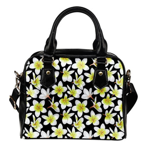 Yellow Plumeria Hawaiian Flowers Leather Shoulder Handbag