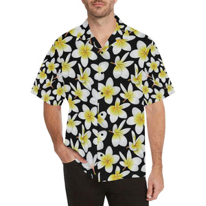 f9deff7e Yellow Plumeria Hawaiian Flowers Men's All Over Print V-Neck Shirt (Model  ...