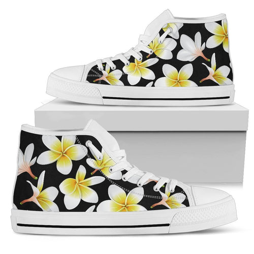 Yellow Plumeria Hawaiian Flowers Men High Top Shoes