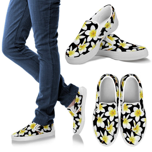 Yellow Plumeria Hawaiian Flowers Men Slip On Shoes