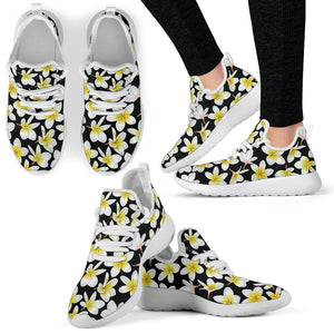 Yellow Plumeria Hawaiian Flowers Mesh Knit Sneakers Shoes