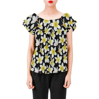 Yellow Plumeria Hawaiian Flowers Off Shoulder Ruffle Blouse