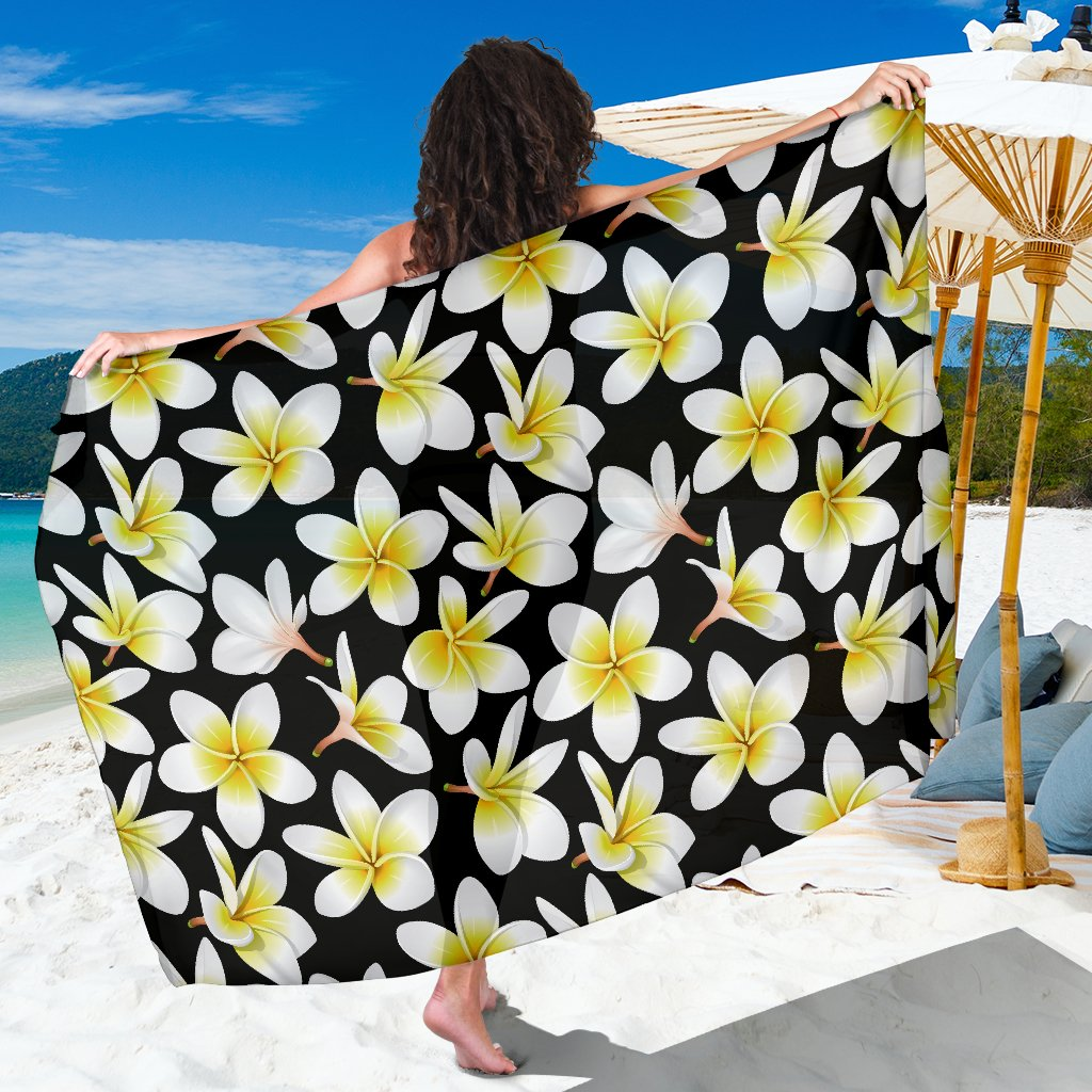Yellow Plumeria Hawaiian Flowers Sarong Pareo Wrap