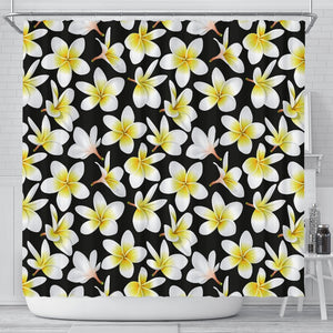 Yellow Plumeria Hawaiian Flowers Shower Curtain