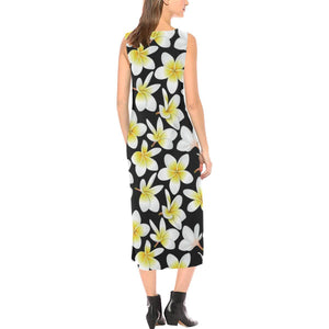 Yellow Plumeria Hawaiian Flowers Sleeveless Open Fork Long Dress