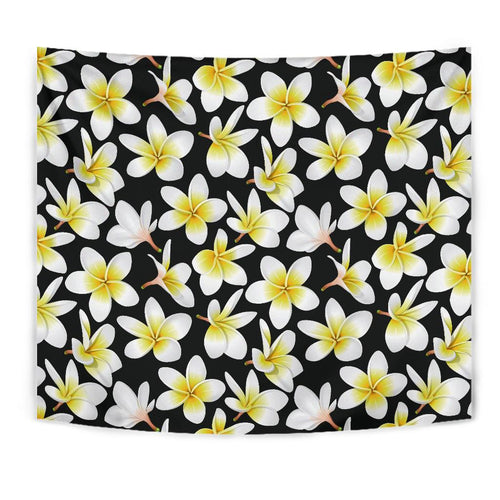 Yellow Plumeria Hawaiian Flowers Tapestry