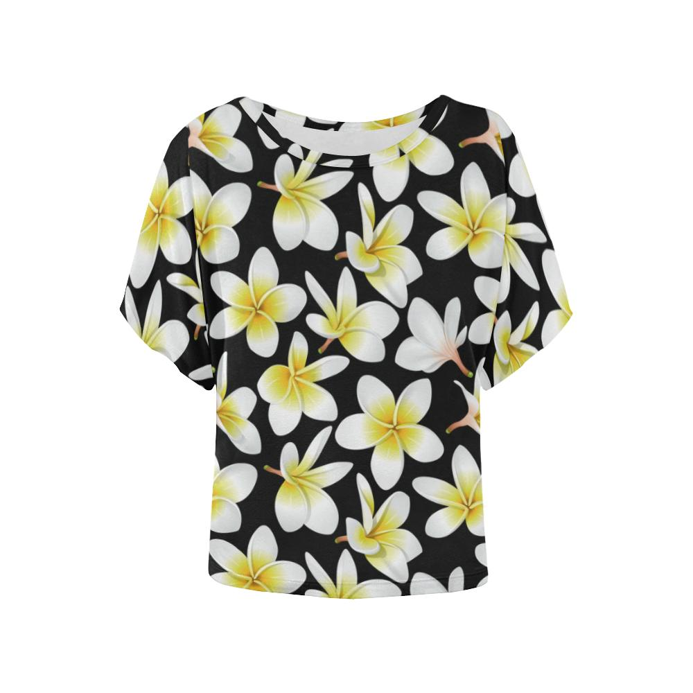 Yellow Plumeria Hawaiian Flowers Women Batwing Tops Shirt Jorjune