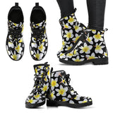 Yellow Plumeria Hawaiian Flowers Women Leather Boots
