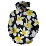 Yellow Plumeria Hawaiian Flower Women Men Zip Up Hoodie