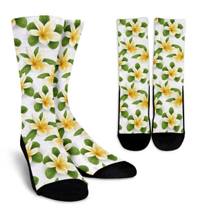 Yellow Plumeria Pattern Print Design PM012 Crew Socks-JORJUNE.COM