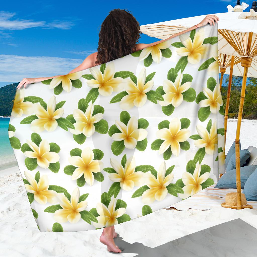 Yellow Plumeria Pattern Print Design PM012 Sarong Pareo Wrap-JORJUNE.COM