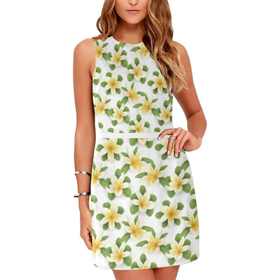 Yellow Plumeria Pattern Print Design PM012 Sleeveless Mini Dress-JorJune