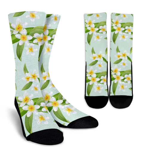 Yellow Plumeria Pattern Print Design PM024 Crew Socks-JORJUNE.COM