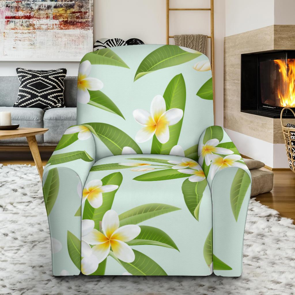 Yellow Plumeria Pattern Print Design PM024 Recliner Slipcover-JORJUNE.COM