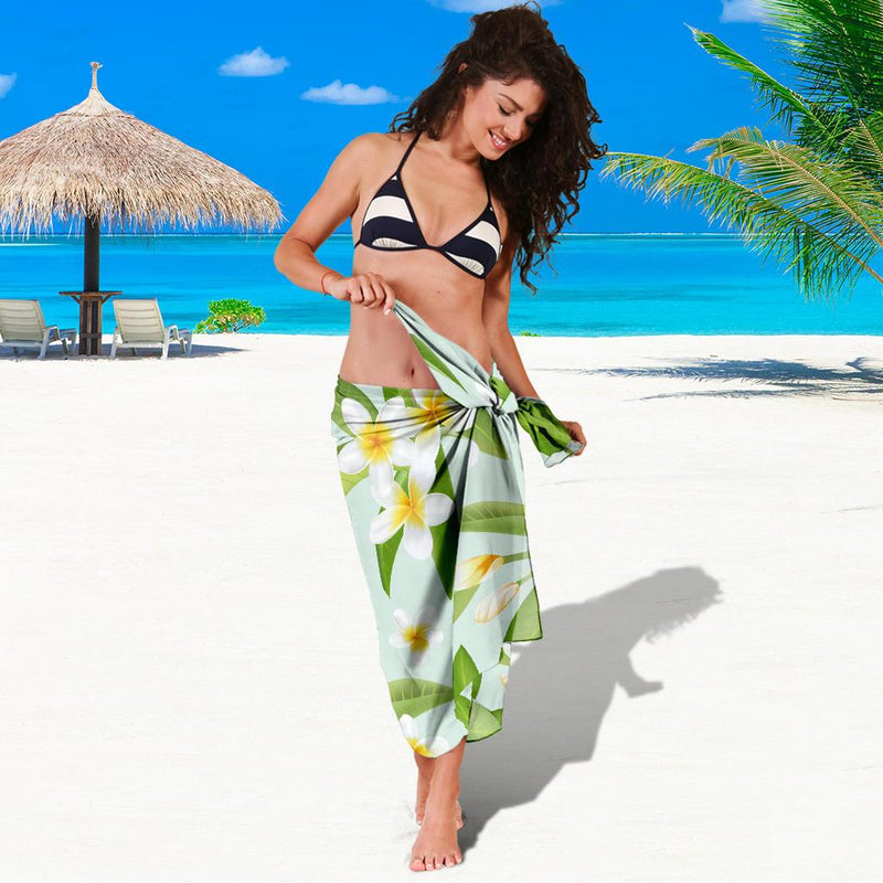 Yellow Plumeria Pattern Print Design PM024 Sarong Pareo Wrap-JORJUNE.COM