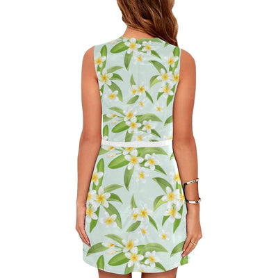 Yellow Plumeria Pattern Print Design PM024 Sleeveless Mini Dress-JorJune