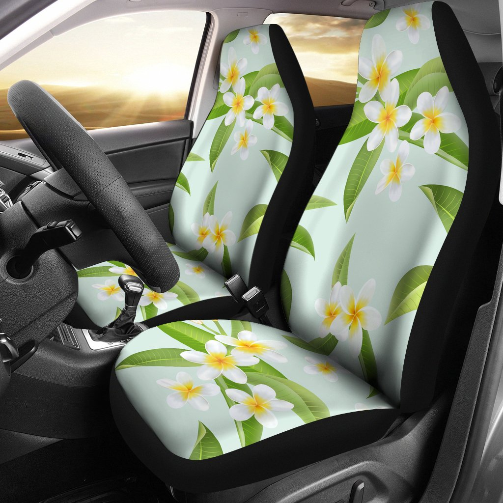 Yellow Plumeria Pattern Print Design PM024 Universal Fit Car Seat Covers-JorJune