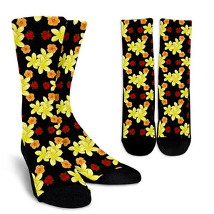 Yellow Plumeria Pattern Print Design PM04 Crew Socks-JORJUNE.COM