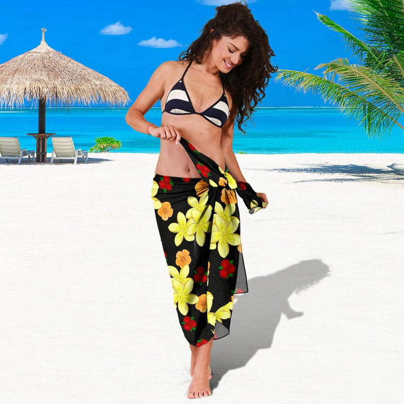 Yellow Plumeria Pattern Print Design PM04 Sarong Pareo Wrap-JORJUNE.COM