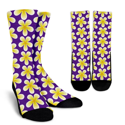 Yellow Plumeria Pattern Print Design PM05 Crew Socks-JORJUNE.COM